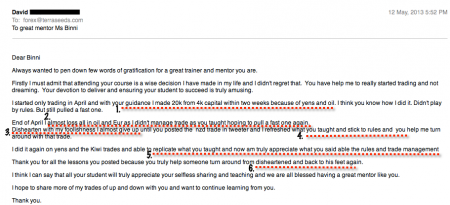 Screencap of testimonial by email