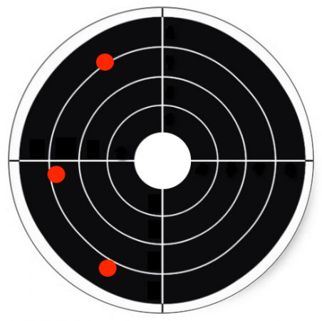 Target board showing poorly grouped shots