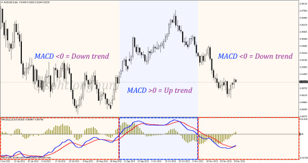 In MACD, trend is indicated by the position of the MACD line in relation to the zero line.