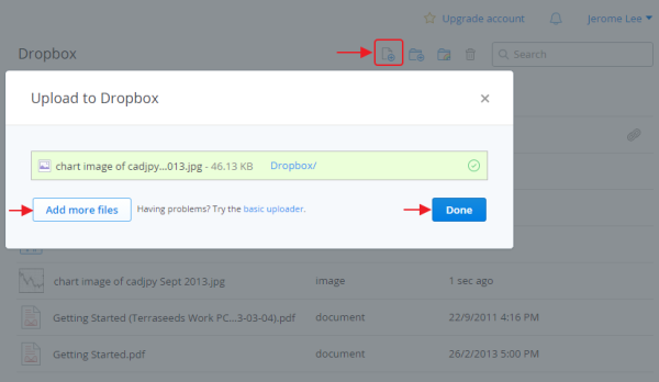 How to upload files to Dropbox