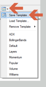 Saving template using the 'Template' icon