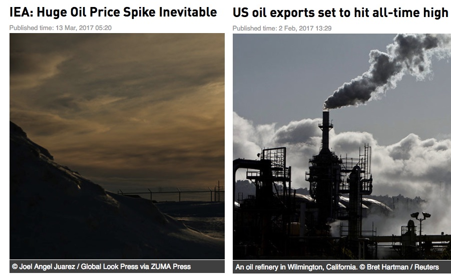 Crude oil headlines screencaptures from RT