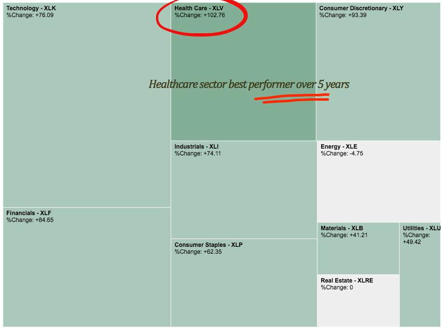 US healthcare sector best performer the last 5-years
